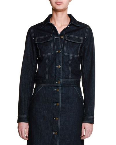 Button-Front Denim Jacket, Dark Navy