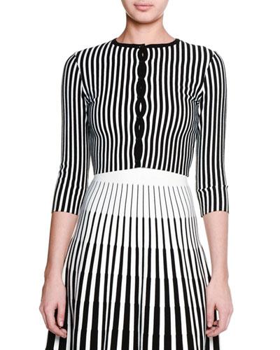 3/4-Sleeve Striped Cropped Cardigan, Black/Chalk