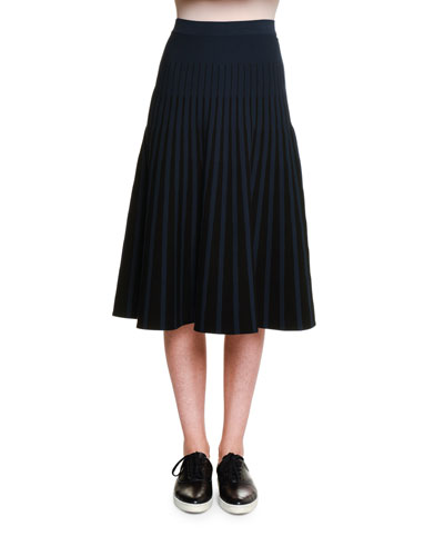 Pleated Two-Tone A-Line Skirt, Black/Blazer