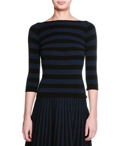 3/4-Sleeve Bateau-Neck Striped Top, Black/Blazer