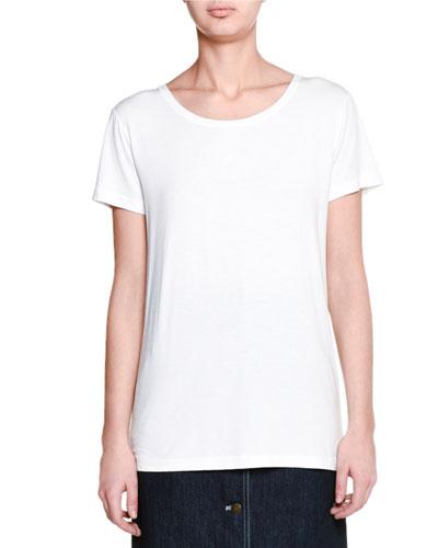Short-Sleeve Round-Neck Tee, White