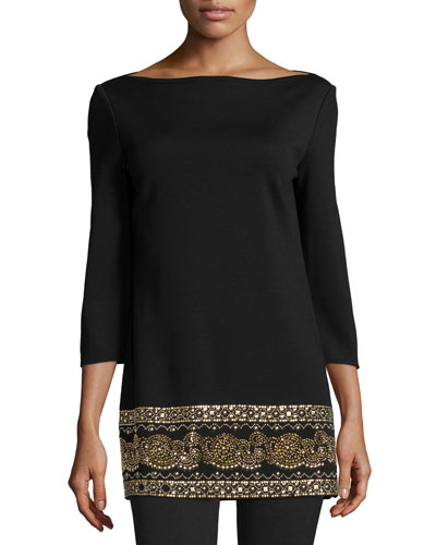 Sequined Boat-Neck 3/4-Sleeve Tunic, Caviar
