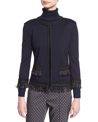 Fringe-Trim 3/4-Sleeve Jacket, Navy/Caviar