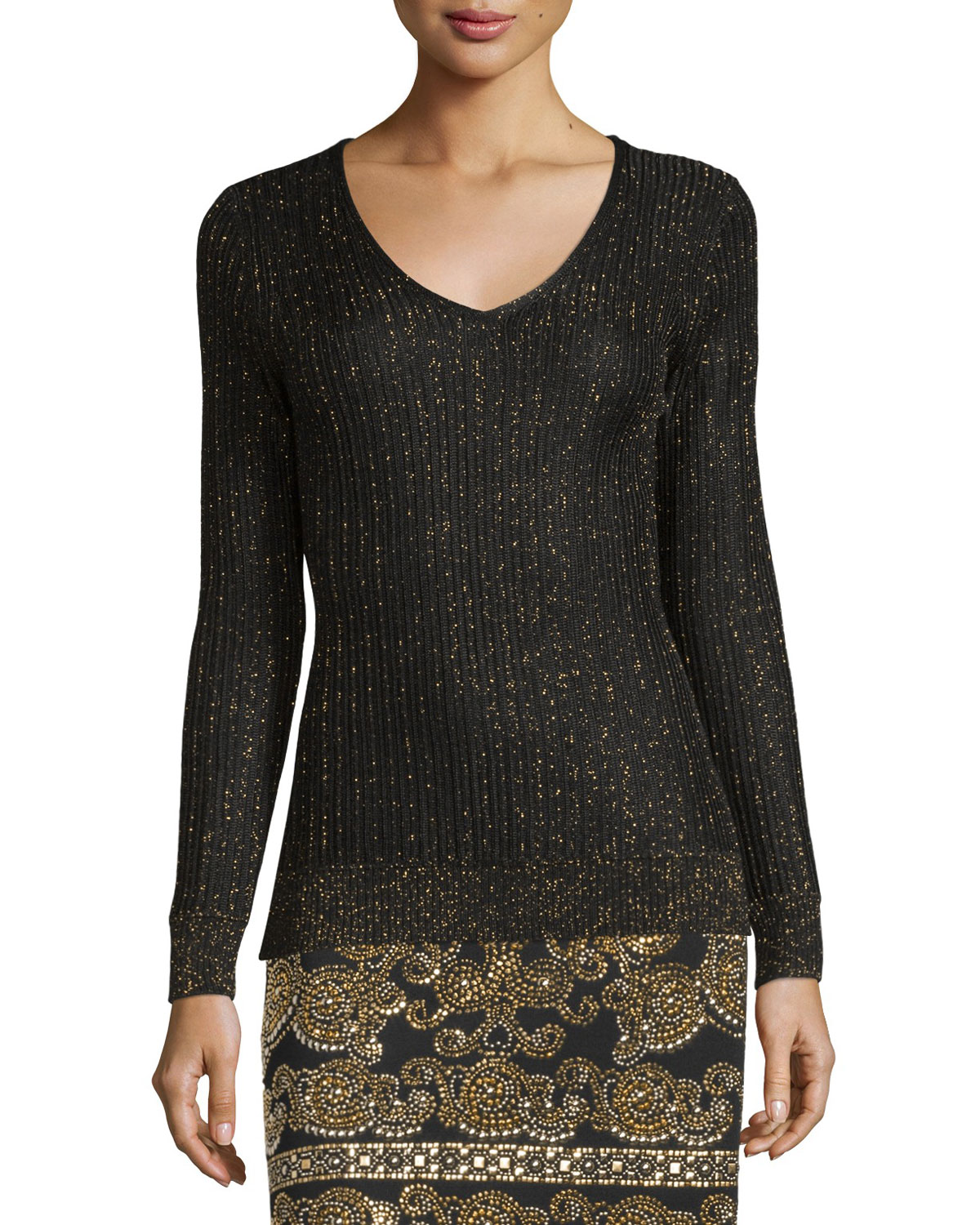 Shimmery Rib-Knit V-Neck Sweater, Caviar/Gold