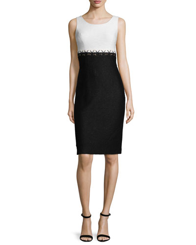 Aliso Colorblock Sleeveless Sheath Dress, Frost/Caviar