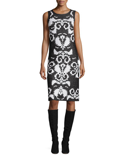 Layla Jacquard Sleeveless Sheath Dress, Caviar/Frost