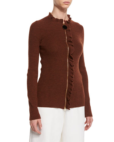 Ruffled-Trim Zip-Front Sweater, Tobacco