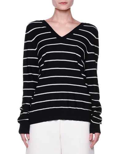 Long-Sleeve Striped Sweater, Ultramarine