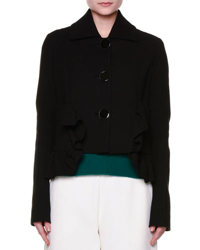 Ruffle-Trim Cropped Jacket, Black