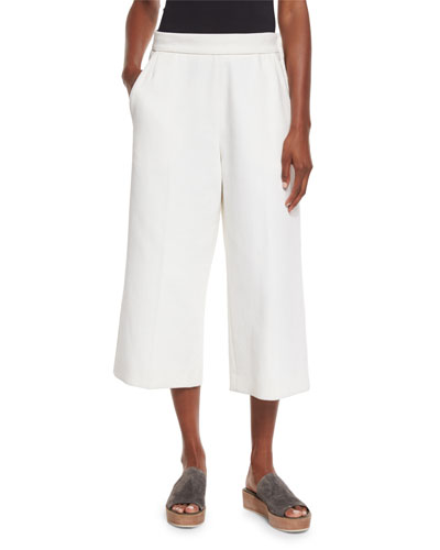 Wide-Leg Cropped Pants, Lily White