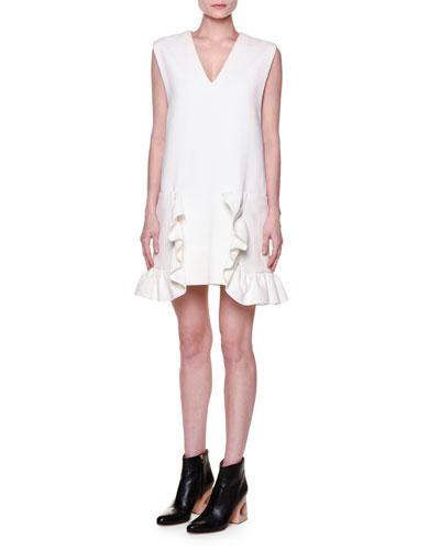 Sleeveless V-Neck Ruffled Dress, Lily White