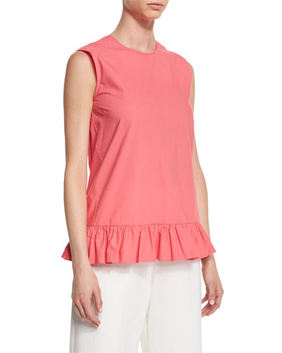 Sleeveless Ruffled-Hem Tunic, Pink Candy