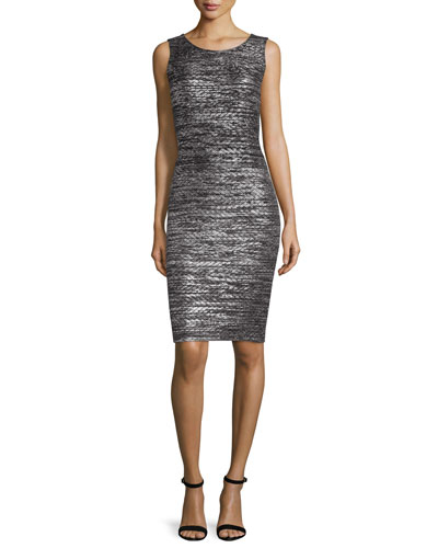 Painted Metallic Sleeveless Sheath Dress, Caviar/Silver Shimmer Multi