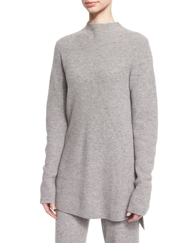 Cashmere Side-Slit Tunic, Gray Melange