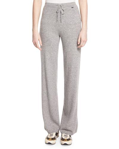 Cashmere Drawstring Pants, Gray Melange