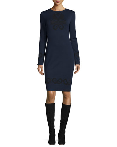 Flocked Milano Knit Long-Sleeve Dress, Navy