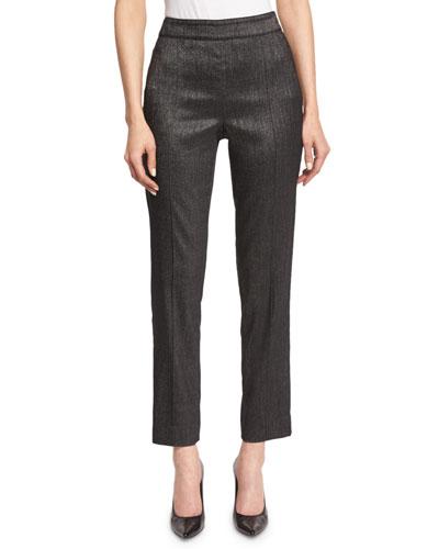 Emma Shimmery Melange Cropped Pants, Gray Melange