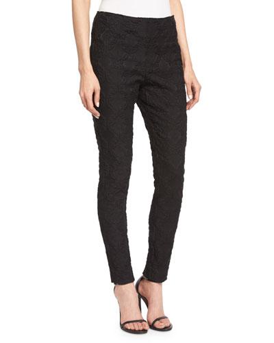 Folkloric Jacquard Cropped Pants, Caviar