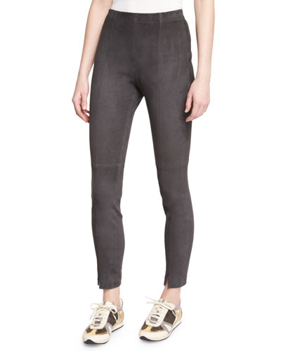 Stretch-Suede Cropped Leggings, Hematite