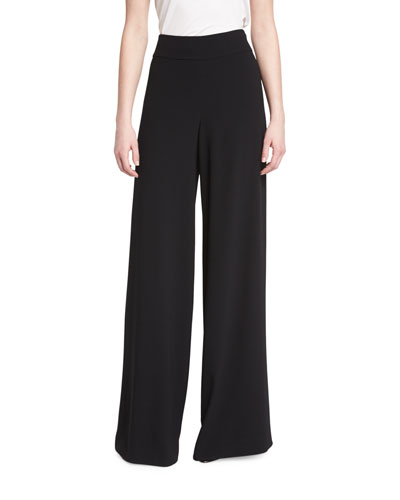 Satin-Back Crepe Wide-Leg Pants, Caviar