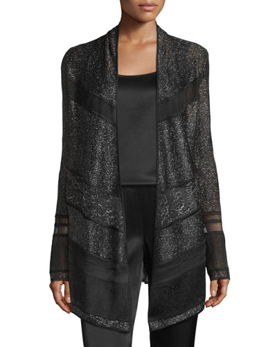 Zenoria Lace-Panel Open Artisan Cardigan, Caviar/Multi