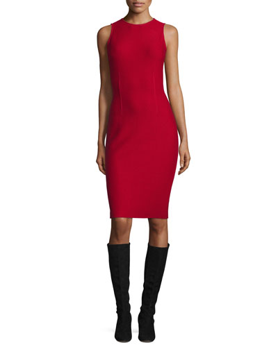 Honeycomb-Knit Sleeveless Sheath Dress, Russian Red