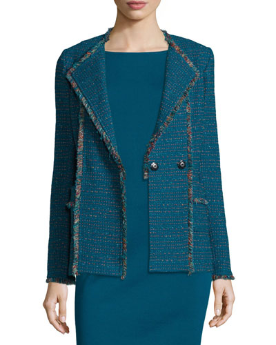 Tweed Double-Breasted Jacket, Tanzanite/Multi