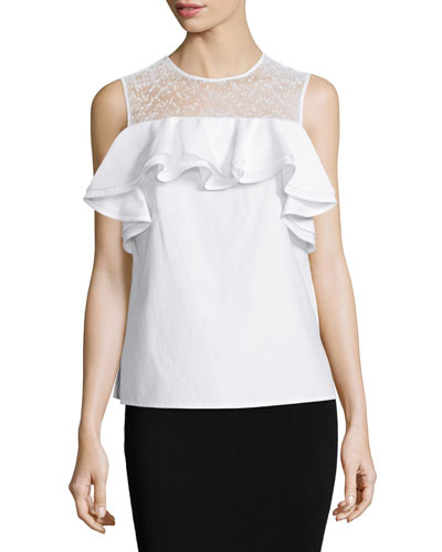 Sleeveless Sheer-Yoke Ruffle Top, White