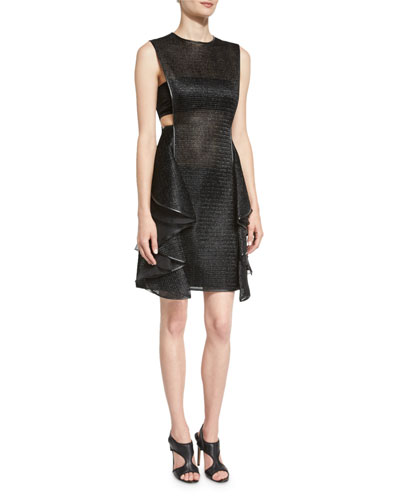 Sleeveless Jewel-Neck Ruffle Dress, Black