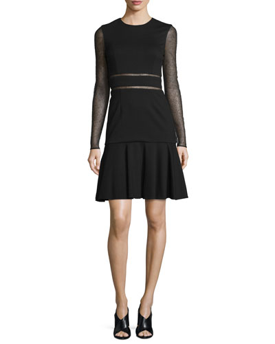 Long-Sleeve Lace-Inset Dress, Black
