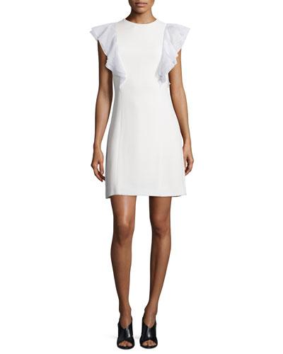 Ruffled Flutter-Sleeve Crepe Dress