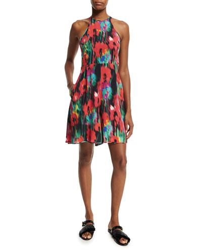 Sleeveless Floral-Print Romper, Black/Multi