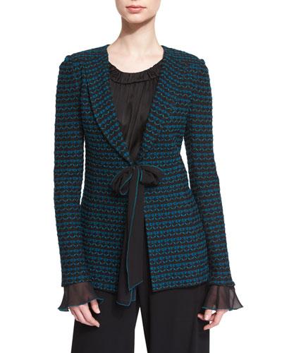 Neva Tie-Front Knit Jacket, Caviar/Tanzanite