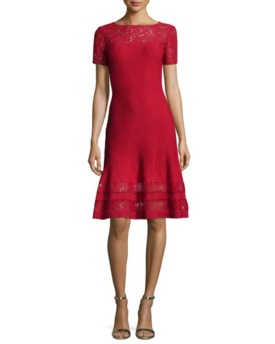 Rubin Lace-Trim Fit-&-Flare Dress, Ruby