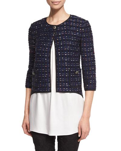Dana Tweed 3/4 Sleeve Jacket, Prussian Blue/Multi
