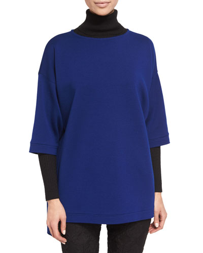 Side-Button Half-Sleeve Tunic, Prussian Blue