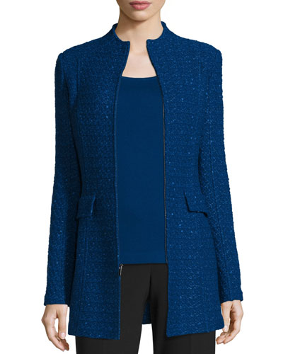 Textured-Knit Funnel-Neck Jacket, Prussian Blue