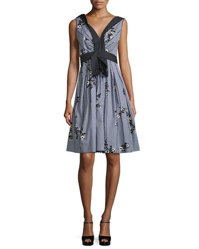 Floral Gingham V-Neck Dress, Black/Multi