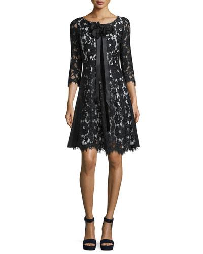 3/4-Sleeve Floral-Lace Dress, Black