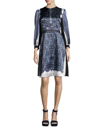 3/4-Sleeve Mixed-Print Dress, White
