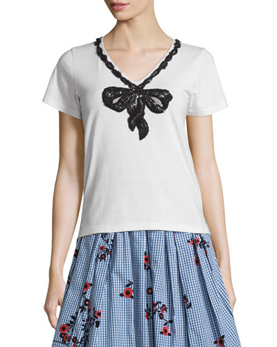 Short-Sleeve Sequined Bow Top, White