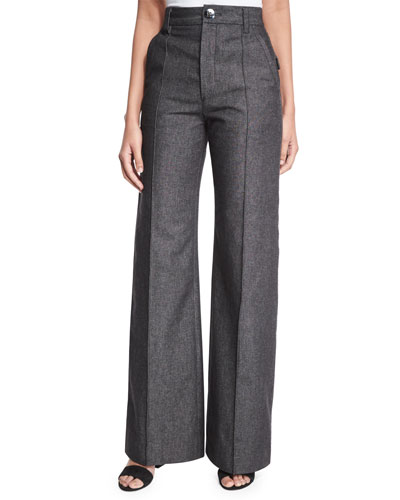 Bowie Wide-Leg Denim Pants, Black