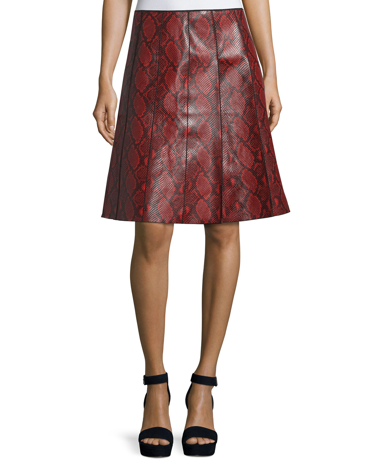 Python-Embossed Leather Skirt, Red