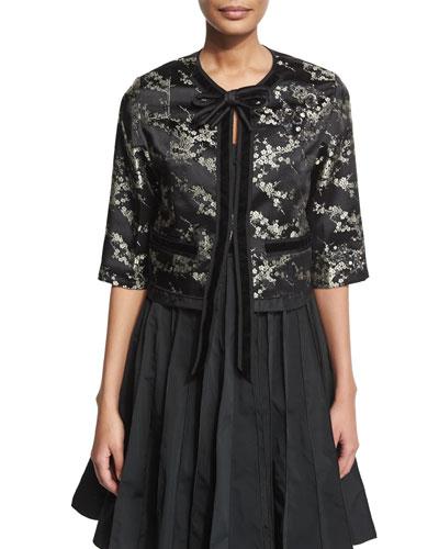 Embellished Velvet-Trim Jacket, Gold/Multi