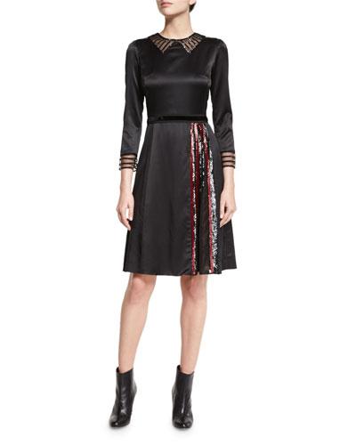 3/4-Sleeve Embellished A-Line Dress, Black