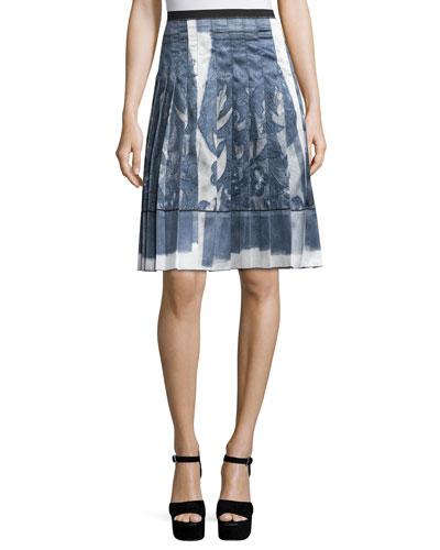 High-Waist Pleated Skirt, White