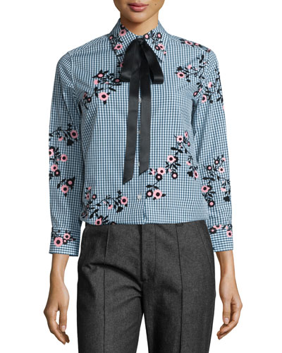 Floral Gingham Tie-Neck Blouse, Green/Multi