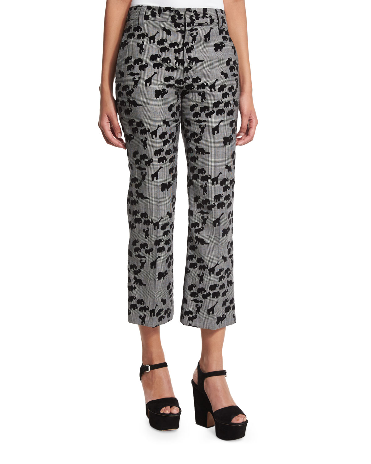 Bowie Animal-Print Cropped Pants, Plaid/Multi