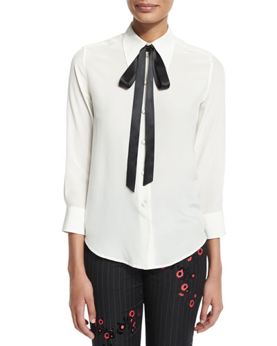 3/4-Sleeve Shirt W/Contrast Neck Tie, White