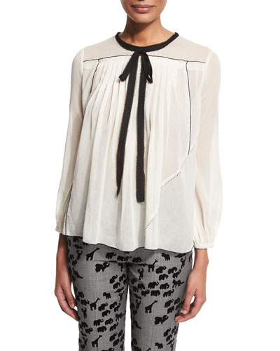 3/4-Sleeve Contrast-Tie Peasant Blouse, White